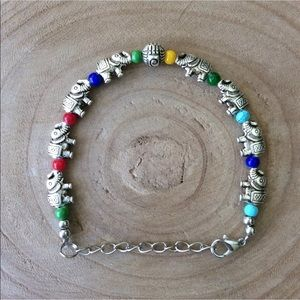Elephant Charm & Multi Color Bead Boho Bracelet